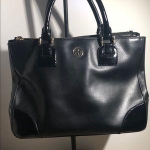 Authentic Tory Burch black leather handbag